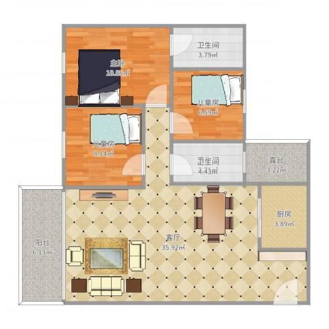 鼎湖・华庭花园3室1厅2卫1厨103.00㎡户型图