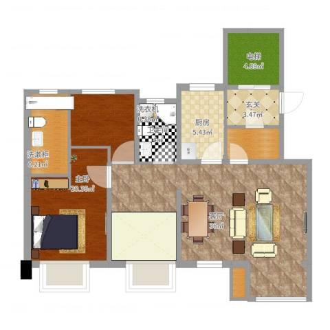 宝龙城C1室1厅1卫1厨107.00㎡户型图