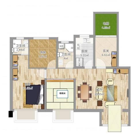 宝龙城C2室1厅2卫1厨106.00㎡户型图