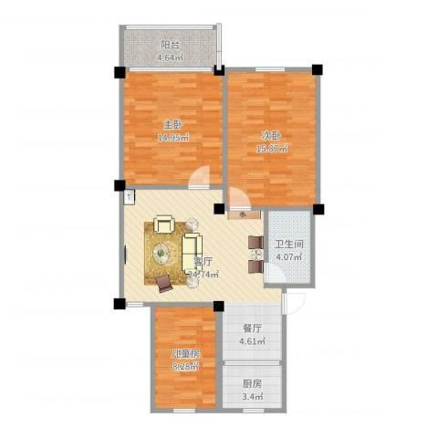 港城嘉苑3室1厅1卫1厨95.00㎡户型图