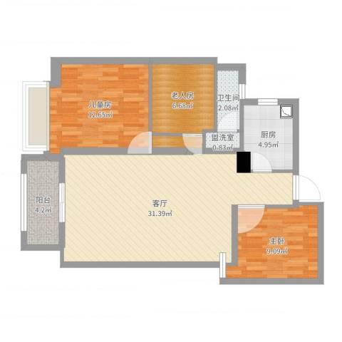 湖畔现代城3室3厅1卫1厨91.00㎡户型图