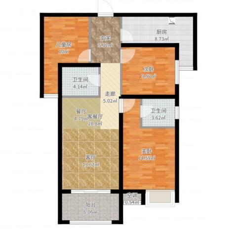 友邦皇家公馆3室2厅2卫1厨108.00㎡户型图