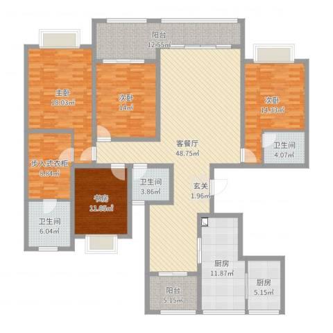 城中花园4室2厅3卫2厨205.00㎡户型图