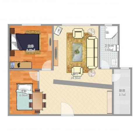 河畔花园2室1厅1卫1厨59.00㎡户型图
