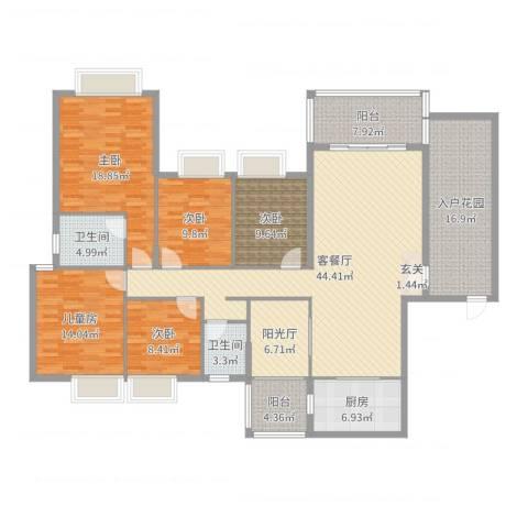 万科公园5号5室2厅2卫1厨195.00㎡户型图