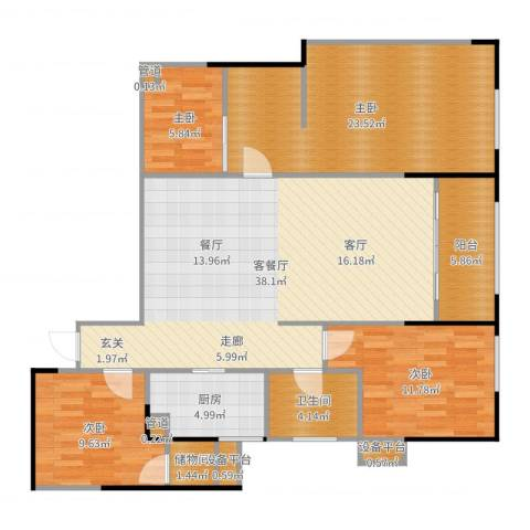 城市广场4室2厅1卫1厨134.00㎡户型图