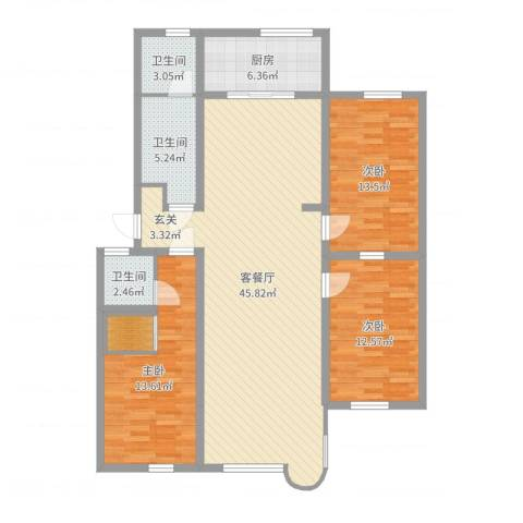 康乐园3室2厅3卫1厨130.00㎡户型图