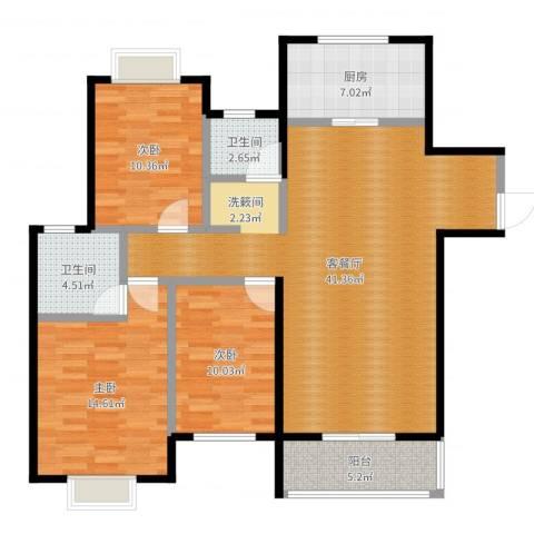 金猴北城名居3室2厅2卫1厨120.00㎡户型图