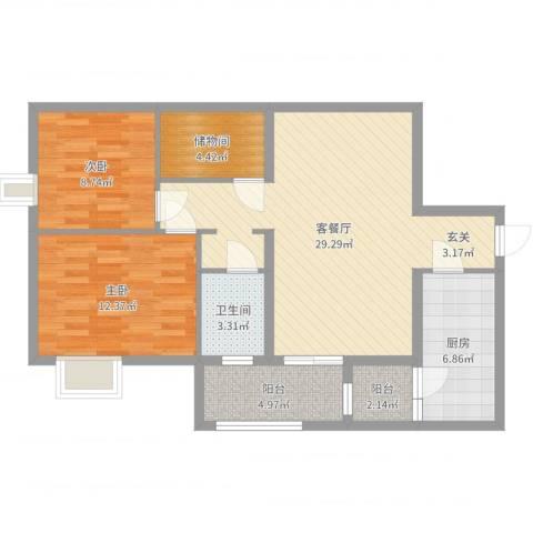 景塘家园2室2厅1卫1厨90.00㎡户型图