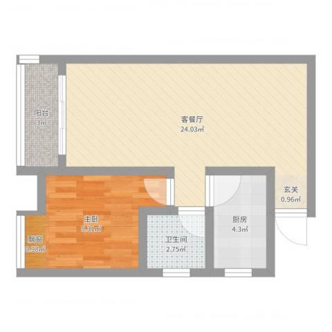 凤凰财富广场1室2厅1卫1厨54.00㎡户型图