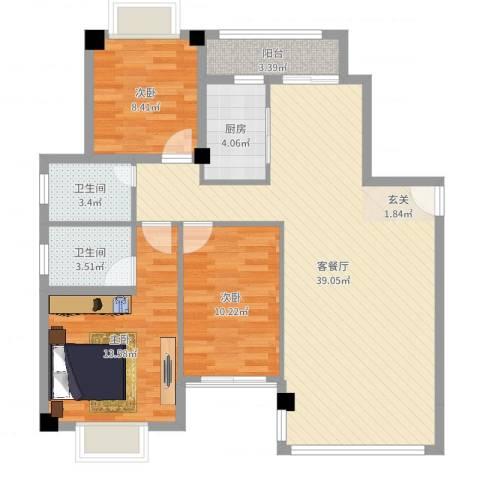 万豪天悦广场3室2厅2卫1厨107.00㎡户型图