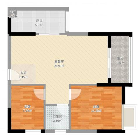 鑫润花园领会写字楼2室2厅1卫1厨72.00㎡户型图