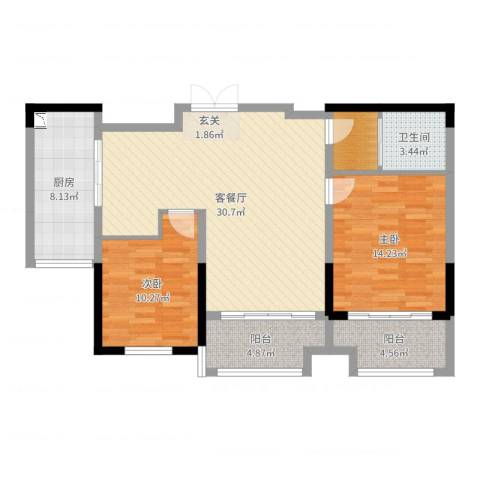 常熟新世纪花苑三期2室2厅1卫1厨98.00㎡户型图