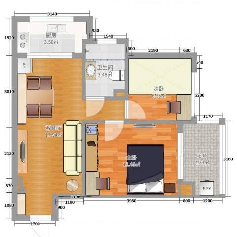 东方丽池2室2厅1卫1厨60.00㎡户型图