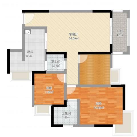 建工锦绣华城2室2厅2卫1厨95.00㎡户型图