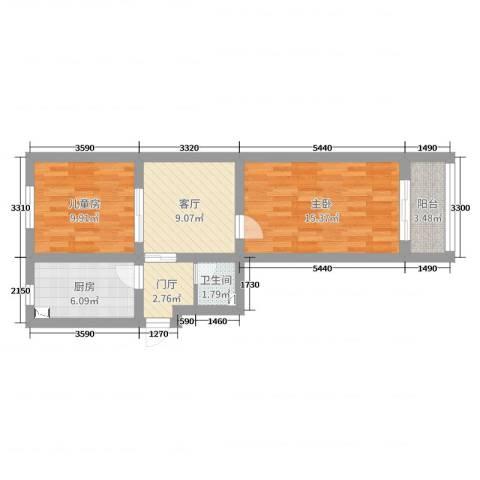 建功北里小区2室1厅1卫1厨61.00㎡户型图
