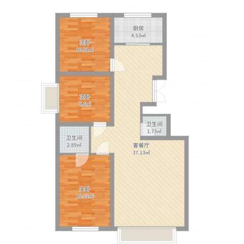 万达小区3室2厅2卫1厨98.00㎡户型图