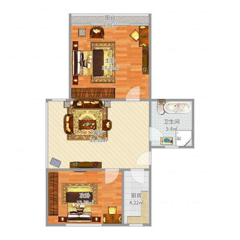 香樟苑66平方两房一厅