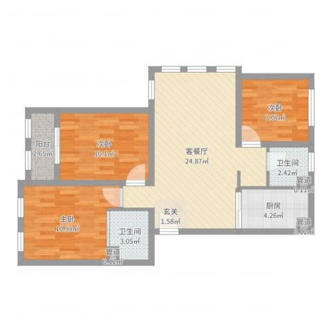 阳光托斯卡纳3室2厅2卫1厨82.00㎡户型图