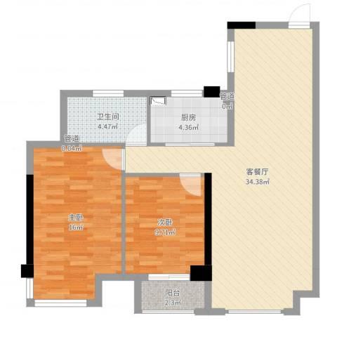 铂金汉宫2室2厅1卫1厨89.00㎡户型图