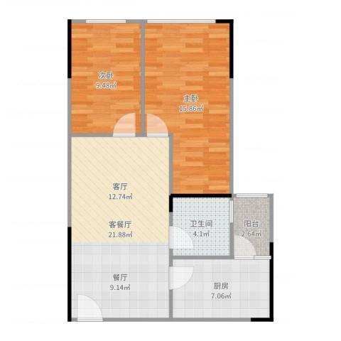 娄山关梦里水乡2室2厅1卫1厨76.00㎡户型图