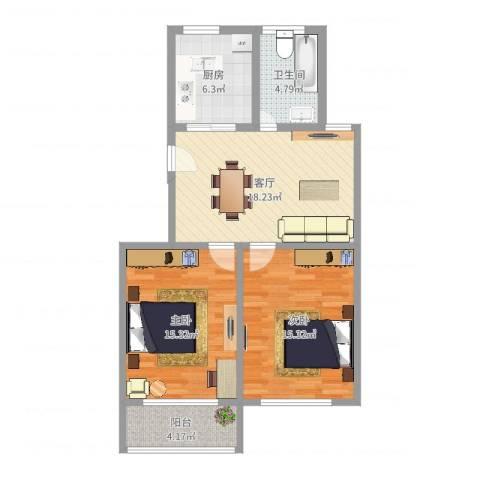 育秀七区2室1厅1卫1厨80.00㎡户型图
