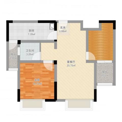 时代广场二期1室2厅1卫1厨76.00㎡户型图