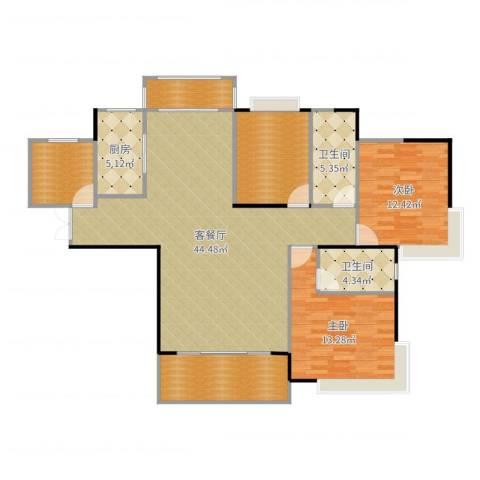 康城上品2室2厅2卫1厨138.00㎡户型图
