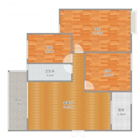 兴科明珠花园三期3室2厅1卫1厨119.00㎡户型图