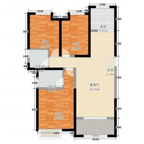 巴塞阳光3室2厅2卫1厨125.00㎡户型图
