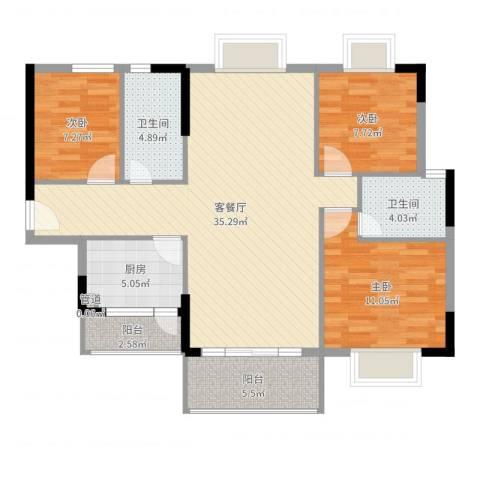 丰泰裕田花园3室2厅2卫1厨104.00㎡户型图