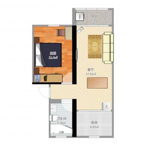 马浜花园南区1室1厅1卫1厨51.00㎡户型图