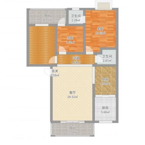 荷塘月色2室1厅2卫2厨113.00㎡户型图