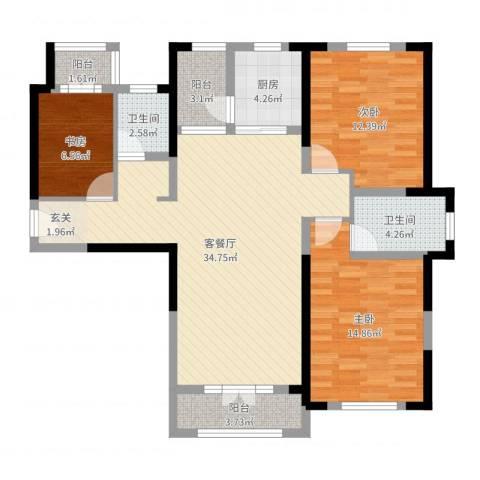 航宇・长江国际3室2厅2卫1厨110.00㎡户型图