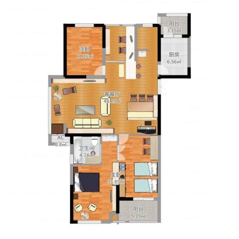 凤凰湖壹号2室2厅1卫1厨150.00㎡户型图