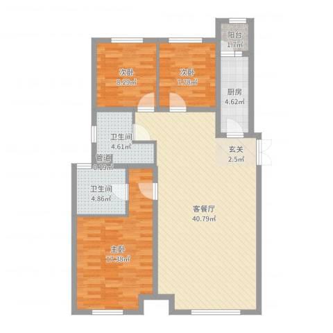 和美紫晶花园3室2厅2卫1厨113.00㎡户型图