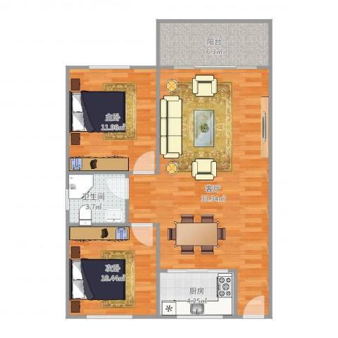 岳北花园2室1厅1卫1厨87.00㎡户型图