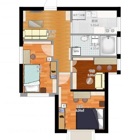 天赋庄园3室2厅1卫1厨52.00㎡户型图