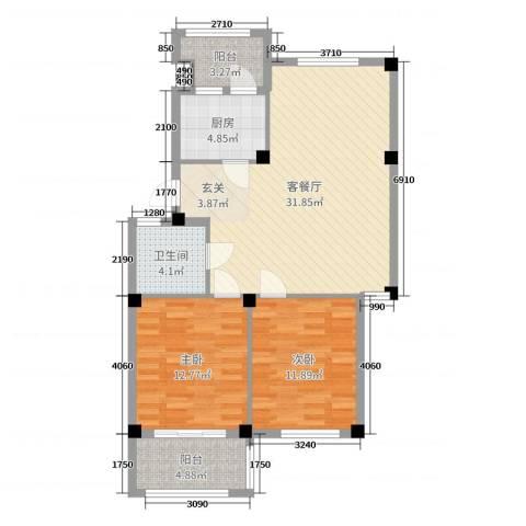 阳光美地2室2厅1卫1厨92.00㎡户型图