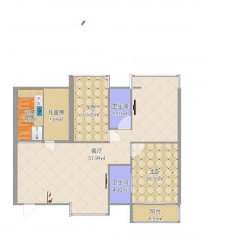 石岩鸿景花园3室1厅2卫1厨147.00㎡户型图