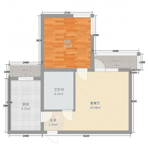 逸升佳苑1室2厅1卫1厨67.00㎡户型图