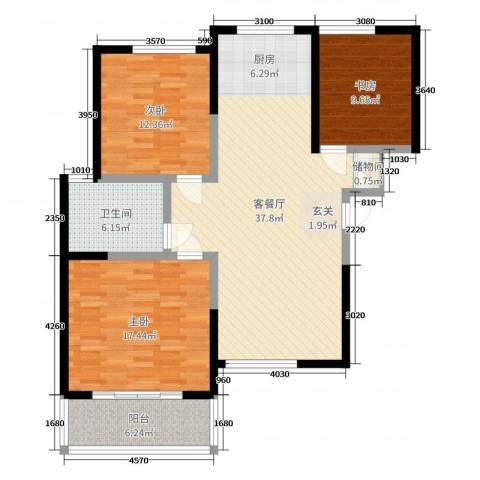 津华苑3室2厅1卫0厨113.00㎡户型图