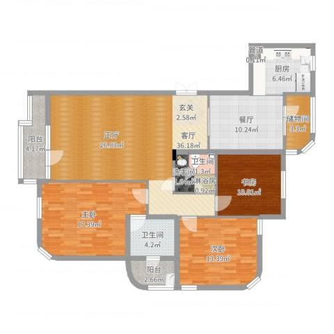 德泰岭秀逸城3室2厅2卫1厨140.00㎡户型图