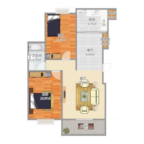 慢城2室1厅1卫1厨86.00㎡户型图