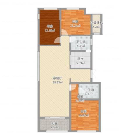 九龙仓国宾1号国宾山3室2厅2卫1厨122.00㎡户型图