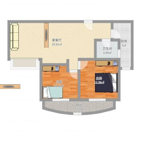 精文城上城2室2厅1卫1厨81.00㎡户型图