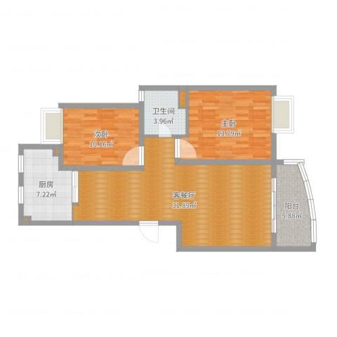 精文城上城2室2厅1卫1厨92.00㎡户型图