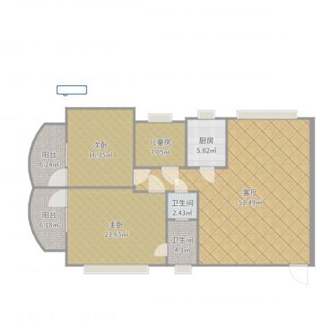 厚街东港城3室1厅2卫1厨154.00㎡户型图