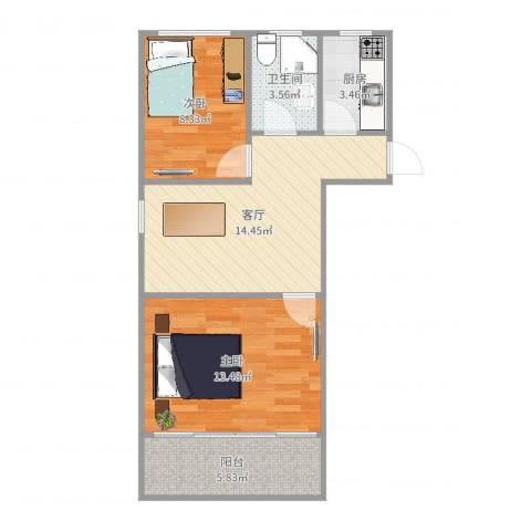 京浦小区2室1厅1卫1厨61.00㎡户型图
