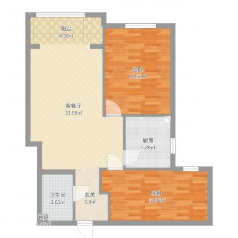 富燕新村二区2室2厅1卫1厨88.00㎡户型图